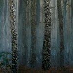 Karolina Jarmolinska, Der Wald, 2012, 450x168cm, Öl, Sand, Asche, Leinwand
